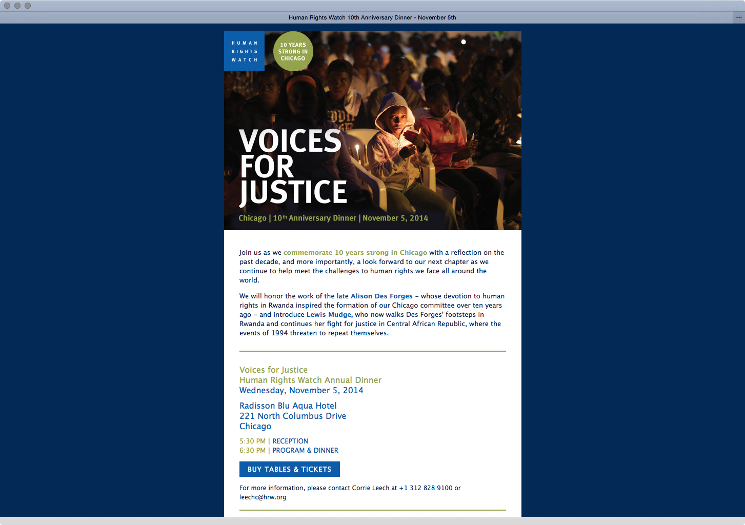 Human Rights Watch - Email Invitation Template • Alex Rumsey ...